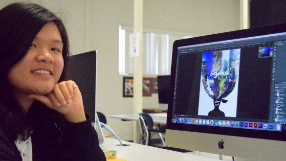 Ashley Lai ('17) will have her piece featured at the Imagination Celebration Art Show. Photo by Jake Winkle.