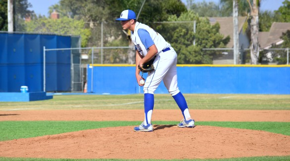 Starting pitcher Nathan Wilson ('18) stares down the Edison batter in preparation of his pitch. Photo by Yasir Khaleq.